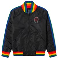 Brain Dead Records Embroidered Satin Club Jacket Black