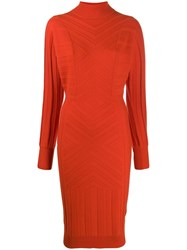 Barrie Knitted Midi Dress Orange