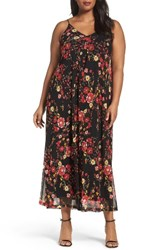 Sejour Plus Size Women's Print Maxi Slipdress Red Black Floral