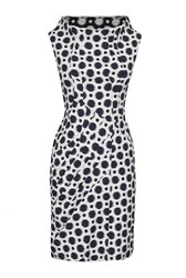 James Lakeland Polka Dot Cowl Neck Dress White