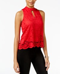 Material Girl Lace Split Back Tank Top Only At Macy's Lipstick Red