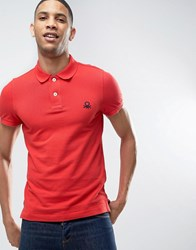 United Colors Of Benetton Short Sleeve Polo Shirt In Slim Fit Red 21L