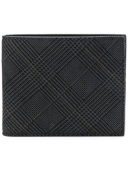 Canali Check Print Wallet Men Suede One Size Black
