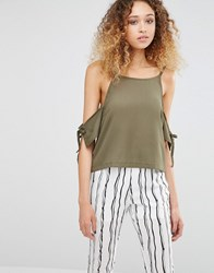 Daisy Street Cold Shoulder Top With Tie Detail Khaki Green