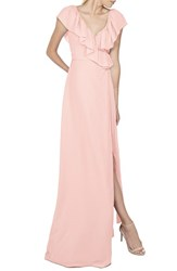 Women's Ceremony By Joanna August 'Lolo' Ruffle V Neck Chiffon Wrap Gown Tiny Dancer