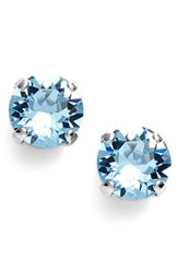 Women's L. Erickson 'Grace' Crystal Stud Earrings Aquamarine Silver