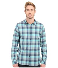 Icebreaker Departure Ii Long Sleeve Shirt Plaid Fathom Heather Shore Fossil Men's Long Sleeve Button Up Blue