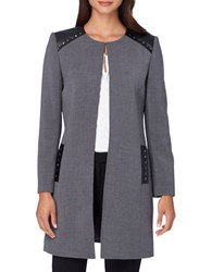 Tahari By Arthur S. Levine Faux Leather Open Topper Jacket Grey Black