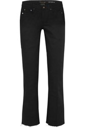 Saint Laurent Cropped Frayed Low Rise Flared Jeans Black