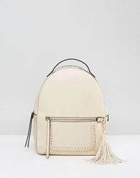Park Lane Structured Backpack With Tassel Cream
