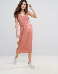 Soaked In Luxury Belted Cami Dress Rose Dawn Pink