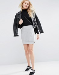 Asos Mini Skirt In Sweat With Step Hem Grey Marl
