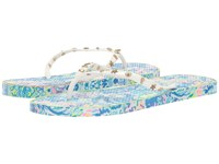 Lilly Pulitzer Critter Flip Flop Multi Ocean Commotion Shoe Women's Slide Shoes White
