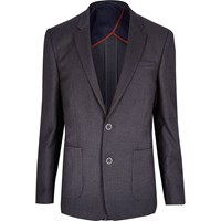 River Island Mens Dark Grey Textured Slim Blazer