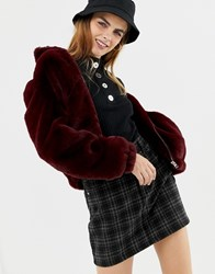 Pull And Bear Pullandbear Faux Fur Bomber Jacket Red