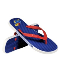 Forever Collectibles Kansas Jayhawks Thong Sandals Blue Crimson