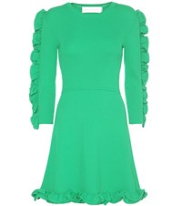 Victoria Beckham Fitted Ruffle Trim Dress Green
