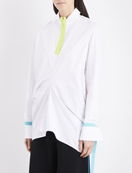 Martina Spetlova Neon Trim Draped Cotton Poplin Shirt Wht