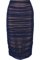 Norma Kamali Ruched Stretch Mesh Skirt Navy