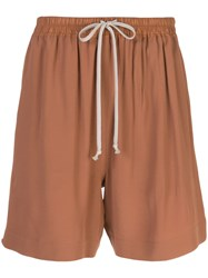 Rick Owens High Waisted Track Shorts Brown
