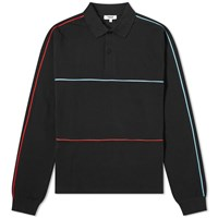 Tres Bien Long Sleeve Piped Polo Black