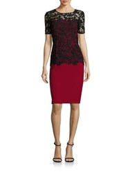 Sachin Babi Solid Fitted Short Sleeves Dress Garnet