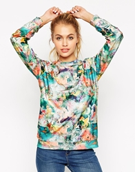 Asos Sweatshirt In Texture With All Over Bambi Print Multi