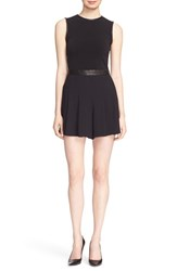 Women's Alice Olivia 'Donna' Sleeveless Leather Trim Romper