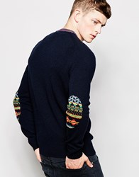 Lyle And Scott Jumper With Fairisle Elbow Patch Navy