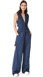 Tome Bow Front Jumpsuit Navy