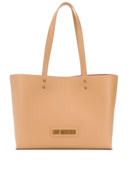 Love Moschino Logo Plaque Tote Bag Brown