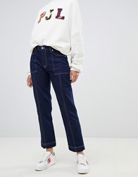 Pepe Jeans High Rise Straight Leg Jean With Contrast Stitch Blue