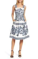 Vince Camuto Women's Fit And Flare Dress Blue Multi
