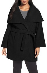 Tahari Plus Size Women's Marla Cutaway Wrap Coat With Oversize Collar Black