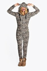 Boohoo Lottie Leopard Ear Hood One Piece Brown
