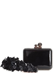 Sophia Webster Vivi Butterly Patent Leather Box Clutch Black