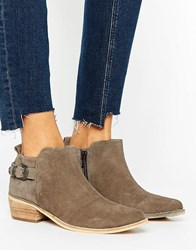 Ravel Western Buckle Boot Taupe Suede Beige