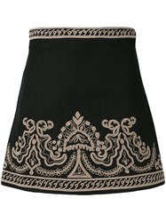 Wandering Embroidered Mini Skirt Women Cotton Linen Flax 42 Black