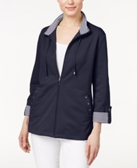 Karen Scott Petite Striped Detail Zip Front Jacket Only At Macy's Intrepid Blue