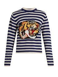 Gucci Tiger Applique Striped Wool Sweater Blue Stripe
