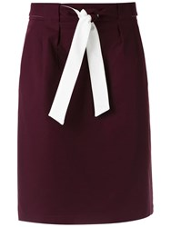 Egrey Belted Straight Skirt Red