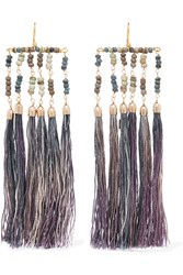 Rosantica Havana Tasseled Beaded Gold Tone Earrings Purple
