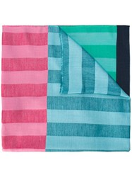 Paul Smith Ps By Colour Block Striped Scarf Blue