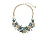 Betsey Johnson Skulls And Roses Multi Flower Frontal Necklace Blue Multi Necklace