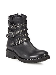 Ash Tattoo Studded Leather Moto Booties Black