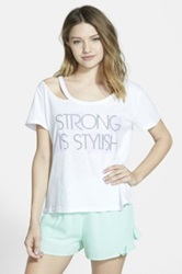 Boy Meets Girl 'Strong Is Stylish' Deconstructed Graphic Tee Juniors White