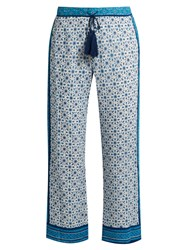 Talitha Block Print Silk Georgette Trousers Blue White