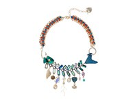 Betsey Johnson Mixed Charm Fish Frontal Necklace Multi Necklace