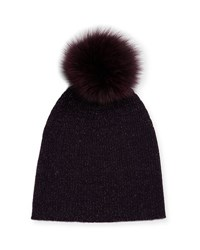 Sofia Cashmere Metallic Knit Fur Pom Beanie Hat Purple