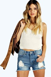 Boohoo High Waisted Distressed Denim Mom Shorts Pale Blue